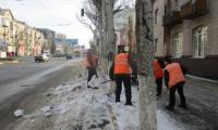 Чистка, погрузка и вывоз снега и льда по улице Советская, 18 февраля 2020г.