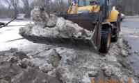 Чистка, погрузка и вывоз снега и льда по улице Оборонная, 20 февраля 2020г.